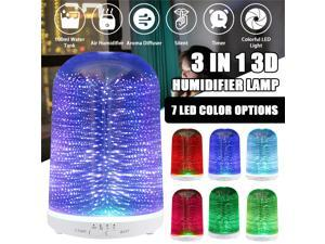 100ML 3D Glass Essential Oil Diffuser Aromatherapy Diffuser Cool Mist Humidifier - USB Type