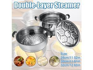 28/30/32cm All in one Double Layer Steamer Stainless Steel Hot Pot Kitchen Cookware Cooker Steamer Pot - 30cm