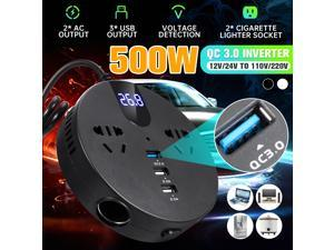 500W Car Inverter Voltage Convertor Transformer DC 12V/24V To AC 110V/220V For Outdoor Camping Solar Inverter -