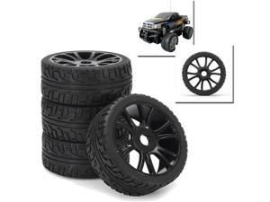 4Pcs 17mm Hub Wheel Rim & Tires Tyre For 1/8 Off-Road RC Car Buggy 180043 Black -