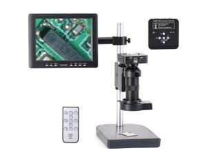 """HAYEAR 34mpMP Professional Industrial Microscope Camera Kit HDMI USB 100X C-mount Zoom Lens 60 LED Light with 8"""" HD LCD Screen For Mobile Phone PCB Repair -"""