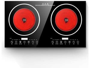 TFCFL Electric Induction Cooker - Portable 2200W 8 Levels Electric Dual Induction Cooker Cooktop Countertop Double Burner