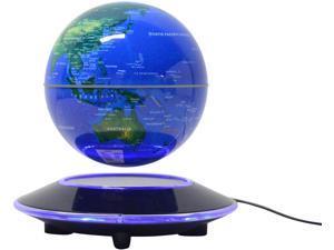 TFCFL 6-inch Magnetic Levitating Floating Globe Anti-gravity Rotating Children's LED Educational Light Home Decoration Gift (Blue)