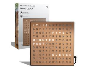 SHARPER IMAGE Light Up Electronic Word Clock, Copper Finish with LED Light Display, USB Cord and Power Adapter, 7.75in Square Face, Unique Contemporary Home and Office Decor