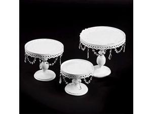 LOYALHEARTDY 3 Piece Set White Metal Cake Stand Crystal Cake Stand Party Holiday Cupcake Decoration