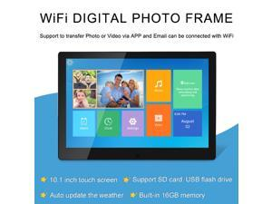 TakeIt WiFi Digital Picture Frame 10 inch Digital Photo Video Cloud Frame 16GB HD 1280x800 IPS LCD Touch Screen Auto-Rotate Adjustable Brightness Black