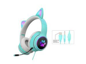 RGB Gaming Headset 3.5mm Multi-platform headphones For Mobile Devices/Game Console/PC/Laptop Noise Reduction Wired Headset with Microphone Luminous Cat Ears