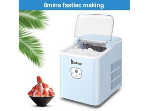 ZOKOP  120V 120W 26lbs/12kg/24h Ice Maker Blue Plastic Transparent Lid/Button Type Household