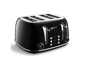 Keenstone Toasters 4 Slice, Retro Stainless Steel Bagel Toaster with Wide Slots, Black