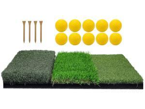 Keenstone Tri-Turf Golf Hitting Mat, Portable Golf Grass Mat for Driving, Chipping Practice Training with Adjustable Tees and Foam Practice Balls, Ideal for Indoor or Outdoor Training