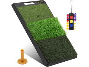 Keenstone Turf Golf Hitting Mat (12 Golf Tees & 1 Rubber Tee & 3 Position Marks Included) - Portable Heavy Duty Rubber Base Golf Grass Mat for Indoor or Outdoor Training
