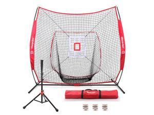 Morpilot Baseball/Softball Bundle | 7x7 Hitting Net |Sturdy Club Set| 3 Weighted Training Balls | Strike Zone Target | Carry Bag | Practice Batting, Pitching, Catching | Backstop Screen Equipment