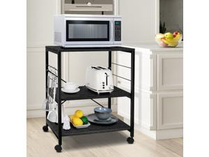 Cheflaud Kitchen Microwave Cart 3-Tier Kitchen Utility Cart Vintage Rolling Bakers Rack with 5 Hooks for Living Room Decoration