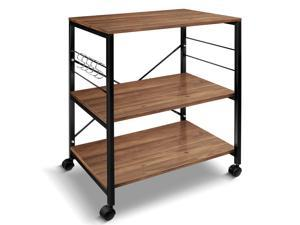 3-Tier Kitchen Cart Multifunction Rolling Microwave Oven Stand Utility Storage Shelf with Metal Frame