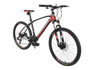 """24 Speed Mountain bike 26"""" Aluminum Mountain Bicycle front and rear disk brake -RED"""