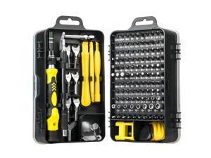 Precision Screwdriver Set, 135 in 1 Small Screw Driver Tool Kit, Professional Repair Tool Kit Plastic Screwdriver Toolbox, Black Yellow, 1 Set