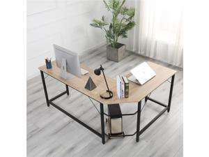 """L-Shaped Game Desk, Corner Computer Desk PC Laptop Gaming Table Workstation Table with CPU Stand for Home Office 66""""x 49 x 29 inch, Wood Color"""