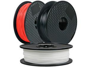 3Pack, CREASEE PLA Red+Black+White 3D Printer Filament, 1.75 mm PLA Filament Dimensional Accuracy +/- 0.03 mm, 3 kg Spool