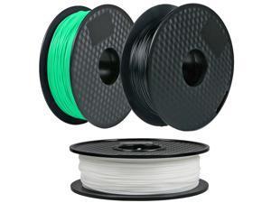 3Pack, CREASEE PLA Green+Black+White 3D Printer Filament, 1.75 mm PLA Filament Dimensional Accuracy +/- 0.03 mm, 3 kg Spool