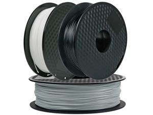 3Pack, CREASEE PLA Black+Silver+White 3D Printer Filament, 1.75 mm PLA Filament Dimensional Accuracy +/- 0.03 mm, 3 kg Spool