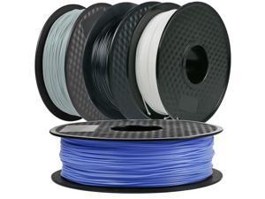 4Pack, CREASEE PLA Silver+Black+Bule+White 3D Printer Filament, 1.75 mm PLA Filament Dimensional Accuracy +/- 0.03 mm, 2 kg Spool