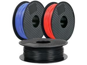 3Pack, CREASEE PLA Blue+Red+Black 3D Printer Filament, 1.75 mm PLA Filament Dimensional Accuracy +/- 0.03 mm, 3kg Spool