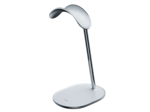 Benks -  Premium Headset Stand Headphone Holder Benks Stand with Electroplated Stainless Steel Shaft Silicone Anti-Slip Bottom for All Headphones (Silver White)