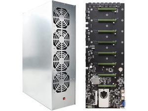 BTC D37 Mining Rig, 8 GPU Complete Miner Rig, Mining Machine System for Crypto Coin Currency Mining, GPU Miner Including Motherboard (Without GPU) Case with Cooling Fans,Motherboard + Chassis