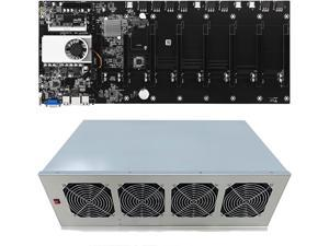 BTC T37 Mining Rig, 8 GPU Complete Miner Rig, Mining Machine System for Crypto Coin Currency Mining, GPU Miner Including Motherboard (Without GPU) Case with Cooling Fans,Motherboard + Chassis