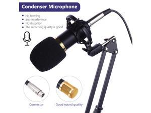 UKCOCO USB Streaming Podcast PC Microphone professional Studio Cardioid Condenser Mic Kit with sound card Boom Arm Shock Mount Pop Filter for Skype YouTuber Karaoke Gaming Recording