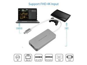 UKCOCO Video Capture Card, USB3.0 HDMI to Type C Video Capture Device, Full HD 1080P 60FPS for Game Recording, Live Streaming Broadcasting-Silver