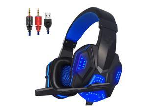 UKCOCO Gaming Headset with Mic and LED Light for Laptop Computer, Cellphone, PS4 and so on,  3.5mm Wired Noise Isolation Gaming Headphones - Volume Control - Black and Blue