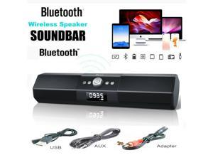 """Foxnovo Sound Bar Wireless Speakers: 105dB Deep Bass Soundbar - with Sound Guide Port Home Theater Audio TV Soundbar - with 1.8"""" LCD Display Noise Filter Sound Bars for TV/PC/Cellphone/Tablets"""
