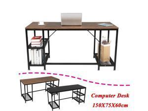 "UKCOCO 59"" Gaming Desk Computer Desk Home Office Desk Work Table Study Writing Table Workstation Desk with double shelf black for Home Office Furniture Black"