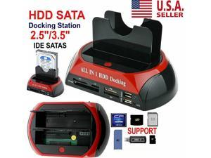 "Dual Slots HDD/SSD Docking Station - USB 2.0 to SATA and IDE Dual Bay HDD Docking Station for 2.5"" & 3.5"" HDD/SSD SATA Dual USB Clone Hard Drive Enclosures- All in 1 Card Reader XD/TF/MS/CF/ SD Card"