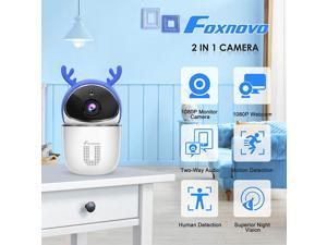 Foxnovo Intelligent Monitor Camera 2 in 1 Ultra Wi-Fi Camera Lovely Antler Wireless Detection Camera IR Night Vision Security Camera for Home Baby Pet Safety