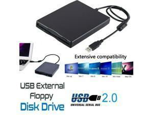 UKCOCO 3.5 Inch USB 2.0 Portable External Floppy Disk Drive 1.44Mb Reader PC Laptop FDD for window Black