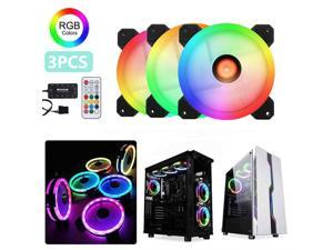 UKCOCO 3PCS RGB Fans 120mm Computer Case Fan PC CPU Cooling Fan Cooler Dazzling Mute High Airflow with RGB Controller