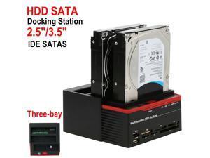 "Hard Drive Docking Station-USB 3.0 to SATA Three Bay HDD Docking Station for 2.5"" 3.5"" SATA IDE HDD/SSD Storage Dock 2x 6TB Hard Drive Enclosure, 5Gbps Data Transfer, Offline Clone / Duplicator"