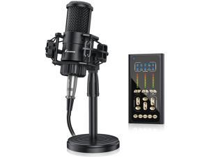 Foxnovo Condenser Microphone with Sound Card: FOXNOVO Podcast Mic Kit with 9 Sound Effects Voice Mixer Stand Earphone for Recording Podcasting Streaming Voice Over Gaming Black