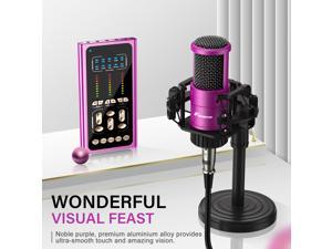 Foxnovo Condenser Microphone with Sound Card: FOXNOVO Podcast Mic Kit with 9 Sound Effects Voice Mixer Stand Earphone for Recording Podcasting Streaming Voice Over Gaming Purple