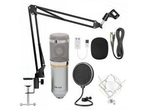 UKCOCO USB Streaming Podcast PC Microphone professional Studio Cardioid Condenser Mic Kit with sound card Boom Arm Shock Mount Pop Filter for Skype YouTuber Karaoke Gaming Recording - Silver