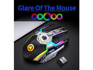 UKCOCO A5 Wireless Rechargeable Gaming Mouse, 1600 dpi, 7 Buttons, RGB LED Backlit, USB Charging Gaming Mice for PC Computer Laptop, Black