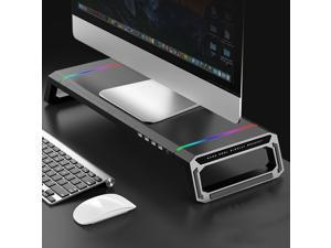 UKCOCO Monitor Stand Riser- 21.6 X 7.8 in Ergonomic Monitor Stand with Phone Holder, Storage Drawer, USB Charging Port and RGB lights, Foldable Laptop Lift Shelf Desk Organizer, for Monitor/PC/Printer