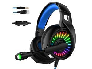 UKCOCO Gaming Headset 7.1 Bass Sound Headset, with Noise Cancelling Mic, RGB Light and USB Connector, for PC, Laptop - Black
