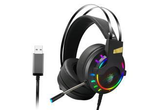 UKCOCO Gaming Headset Wired Gaming Headphones with Microphone & LED Light Noise Cancelling Over Ear, Enhanced 7.1 Surround Sound, USB Plug