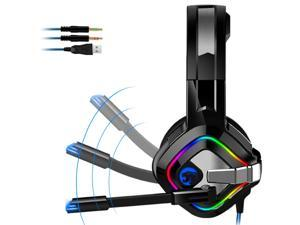 UKCOCO Gaming Headset Wired Headphones with Microphone, Enhanced 7.1 Surround Sound, USB Plug and 3.5mm Cable
