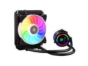 UKCOCO Close-Loop AIO CPU Liquid/Water Cooler, 120 Radiator, PWM Flow 120mm, RGB Lighting, Dual Chamber Pump for AMD AM4/AM3+AM3/FM2+/FM2/Intel LGA2066/2011V3/2011/115x