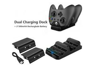 Xbox One Controller Charger, Dual Charge USB Charging Station Dock for Xbox One, with 2 x 300 mAh Rechargeable Battery Battery Packs