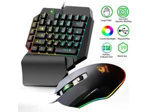 One Hand Gaming Keyboard and Mouse Combo, 39 Keys Wired Mechanical Feel Rainbow Backlit Half Keyboard, Support Wrist Rest, USB Wired Gaming Mouse for LOL/PUBG/Wow/Dota/OW/Fps Game